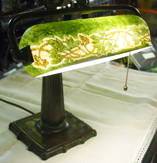 Signed bronze and glass Handel desk lamp