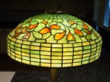 Tiffany Studios table lamp-Swirling Leaf w bronze